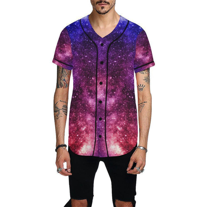 Blue Purple Stardust Galaxy Space Print Men's Baseball Jersey GearFrost