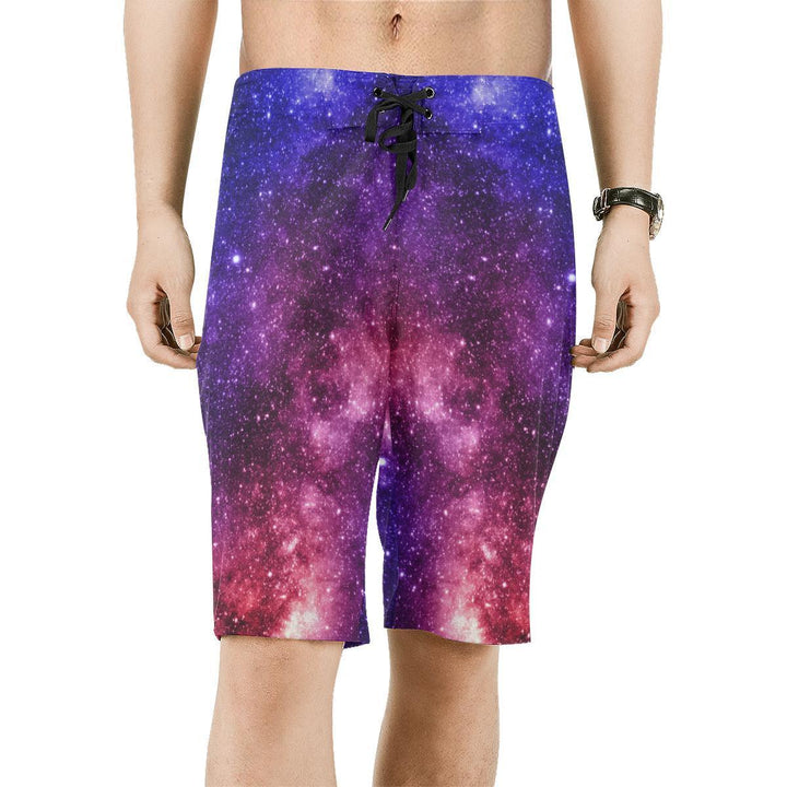 Blue Purple Stardust Galaxy Space Print Men's Board Shorts GearFrost