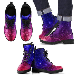 Blue Purple Stardust Galaxy Space Print Men's Boots GearFrost