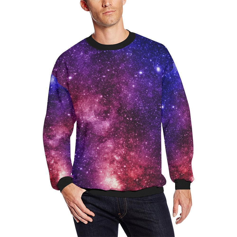 Blue Purple Stardust Galaxy Space Print Men's Crewneck Sweatshirt GearFrost