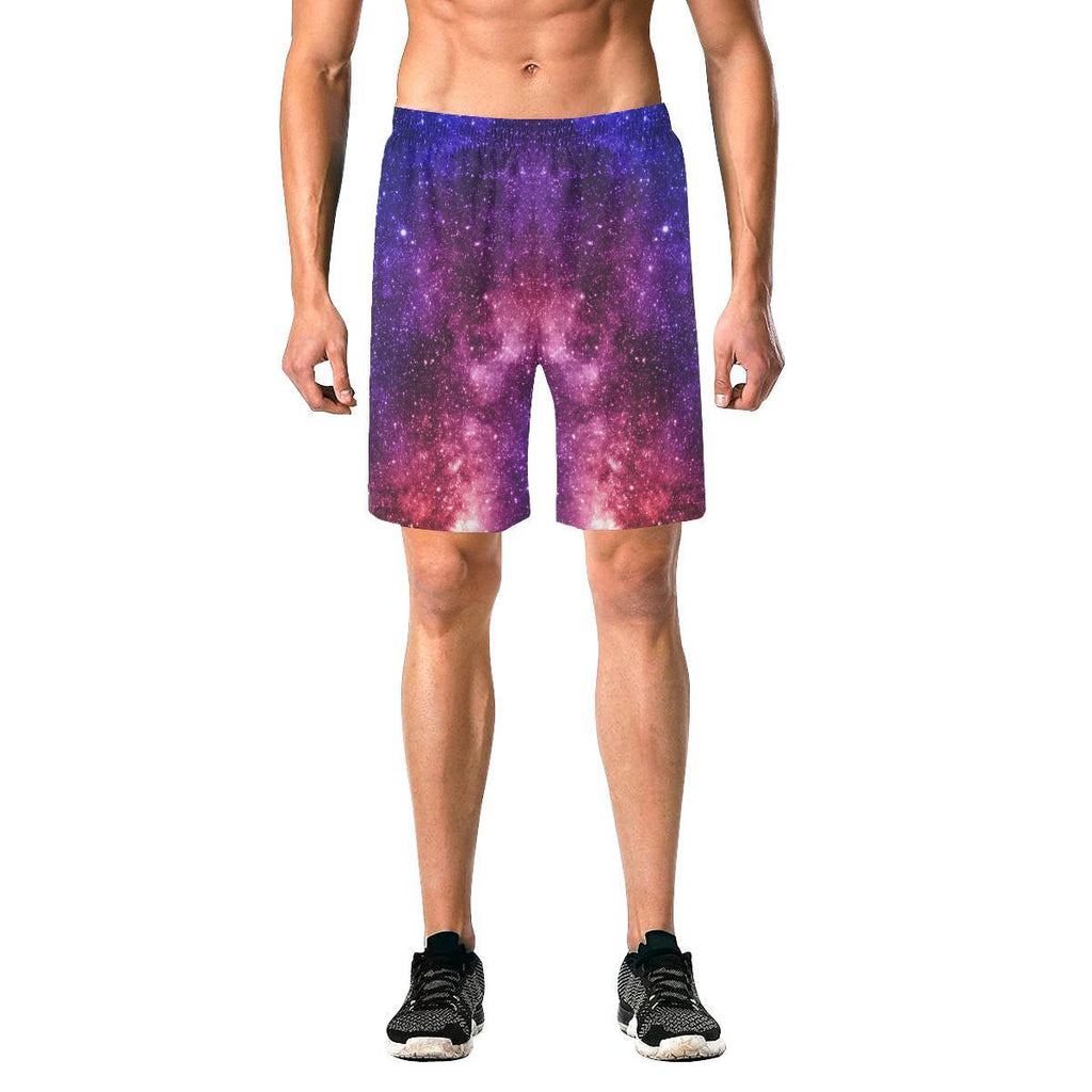 Blue Purple Stardust Galaxy Space Print Men's Elastic Board Shorts GearFrost