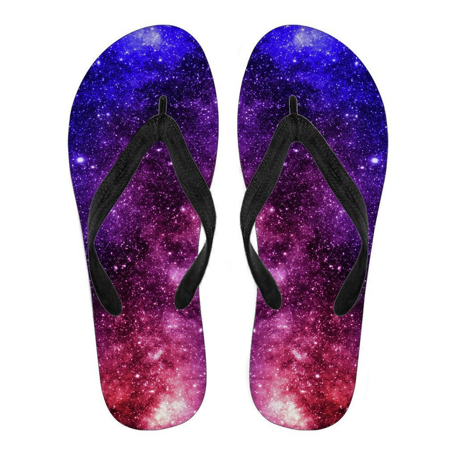 Blue Purple Stardust Galaxy Space Print Men's Flip Flops GearFrost