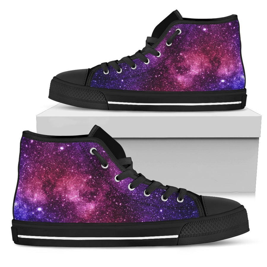 Blue Purple Stardust Galaxy Space Print Men's High Top Shoes GearFrost