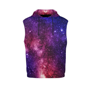 Blue Purple Stardust Galaxy Space Print Men's Sleeveless Hoodie GearFrost