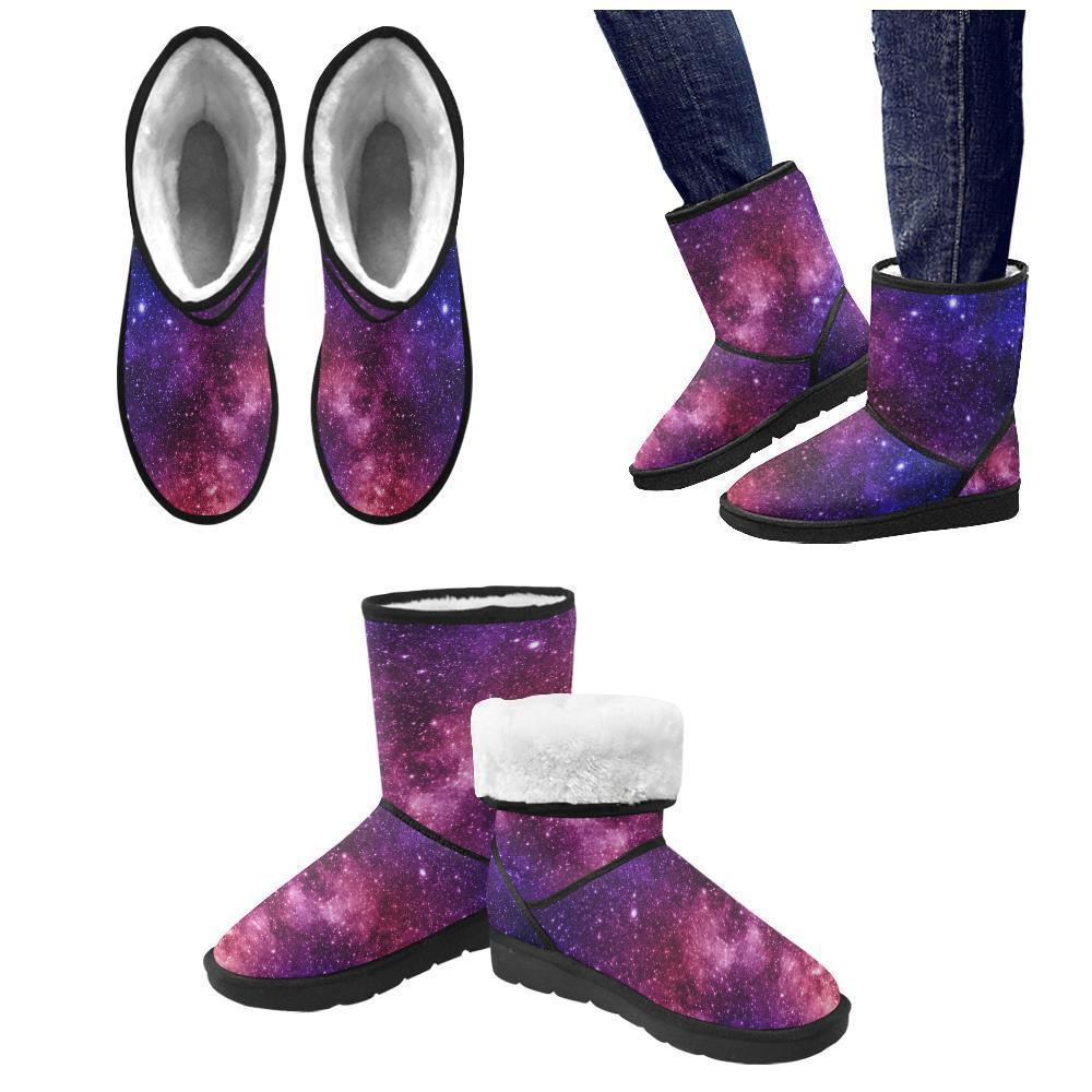 Blue Purple Stardust Galaxy Space Print Men's Snow Boots GearFrost