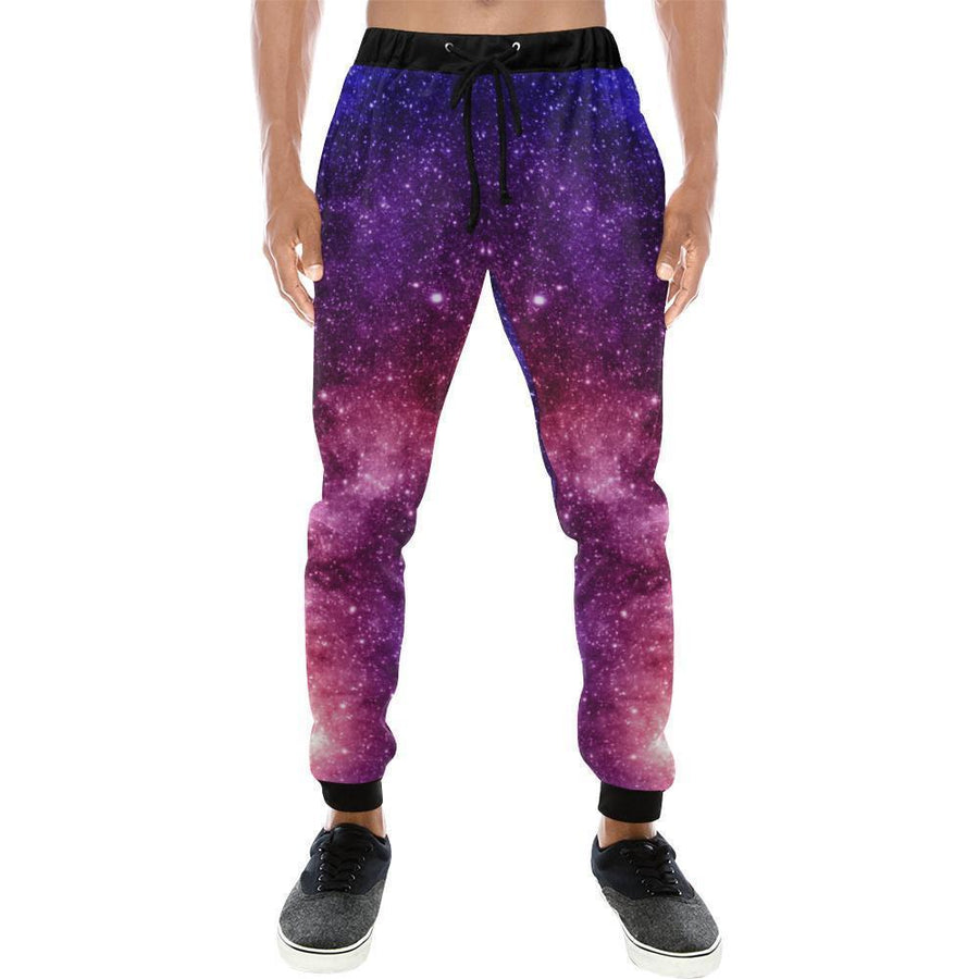 Blue Purple Stardust Galaxy Space Print Men's Sweatpants GearFrost