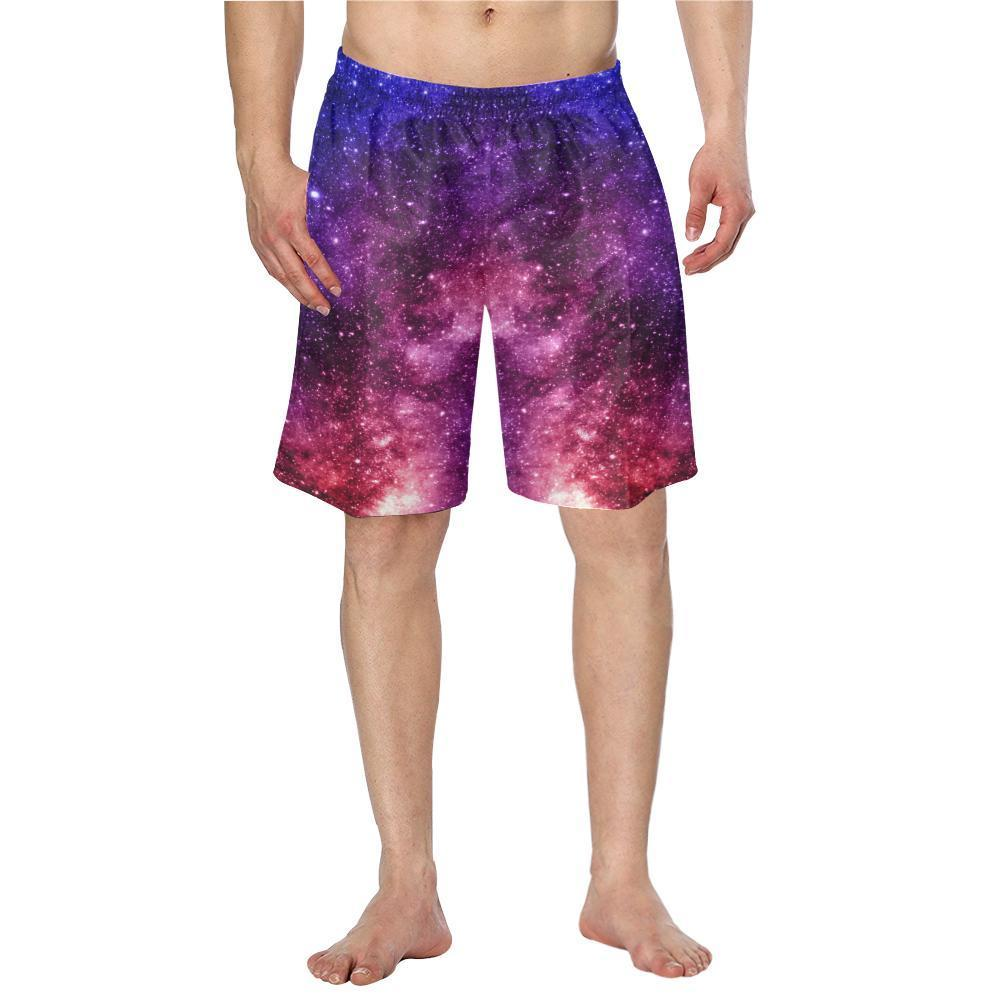 Blue Purple Stardust Galaxy Space Print Men's Swim Trunks GearFrost