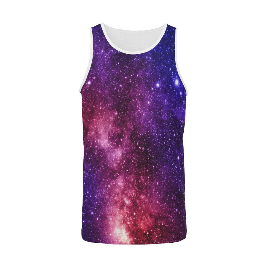 Blue Purple Stardust Galaxy Space Print Men's Tank Top GearFrost