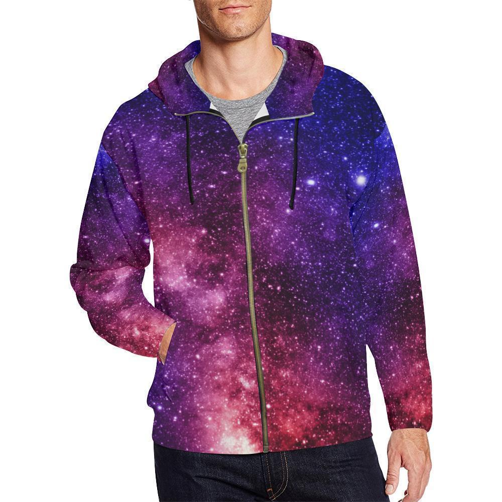 Blue Purple Stardust Galaxy Space Print Men's Zip Up Hoodie GearFrost