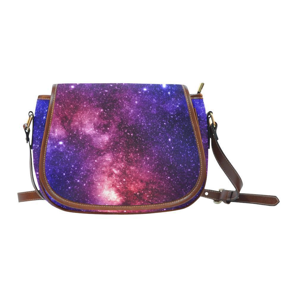 Blue Purple Stardust Galaxy Space Print Saddle Bag Crossbody Purse GearFrost
