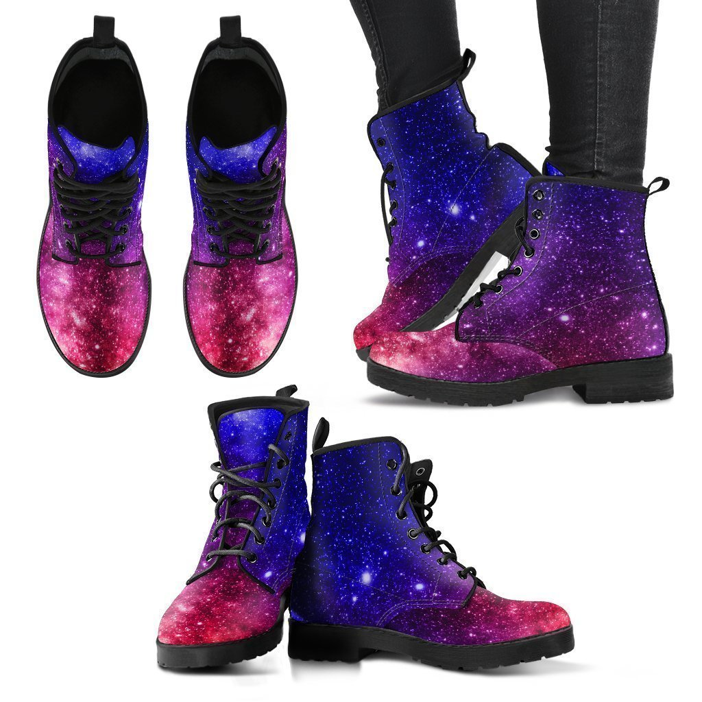 Blue Purple Stardust Galaxy Space Print Women's Boots GearFrost
