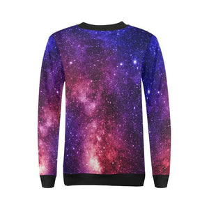 Blue Purple Stardust Galaxy Space Print Women's Crewneck Sweatshirt GearFrost