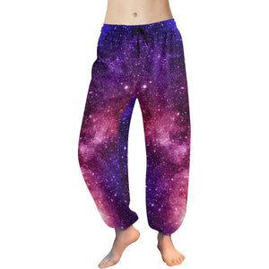 Blue Purple Stardust Galaxy Space Print Women's Harem Pants GearFrost