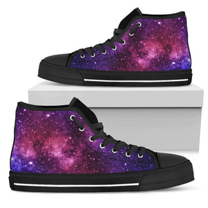 Blue Purple Stardust Galaxy Space Print Women's High Top Shoes GearFrost