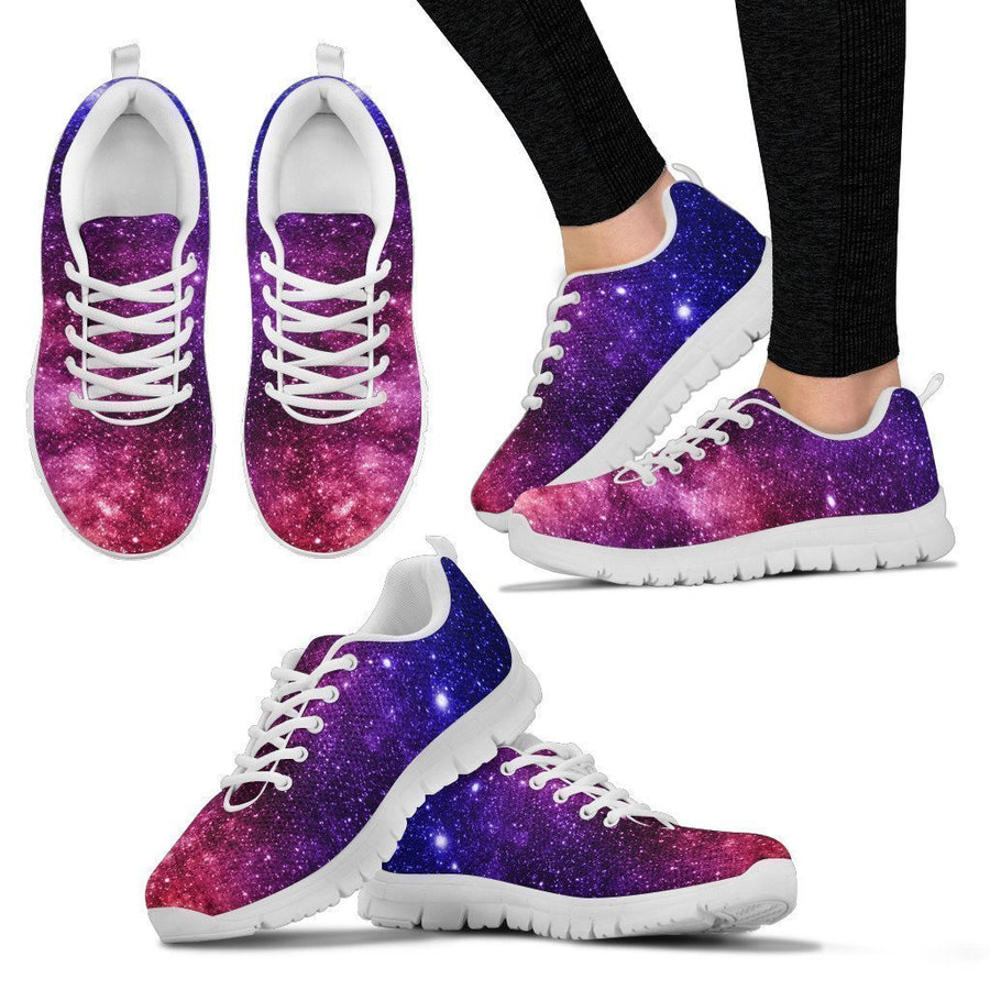 Blue Purple Stardust Galaxy Space Print Women's Sneakers GearFrost