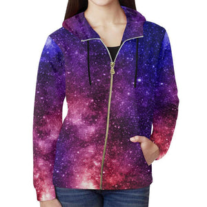 Blue Purple Stardust Galaxy Space Print Women's Zip Up Hoodie GearFrost