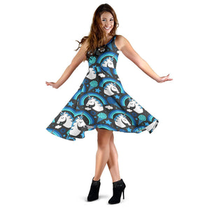 Blue Rainbow Unicorn Pattern Print Women's Dress GearFrost