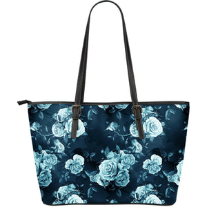 Blue Rose Floral Flower Pattern Print Leather Tote Bag GearFrost