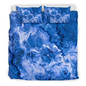 Blue Sapphire Marble Print Duvet Cover Bedding Set GearFrost
