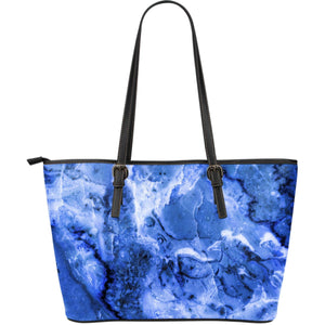 Blue Sapphire Marble Print Leather Tote Bag GearFrost