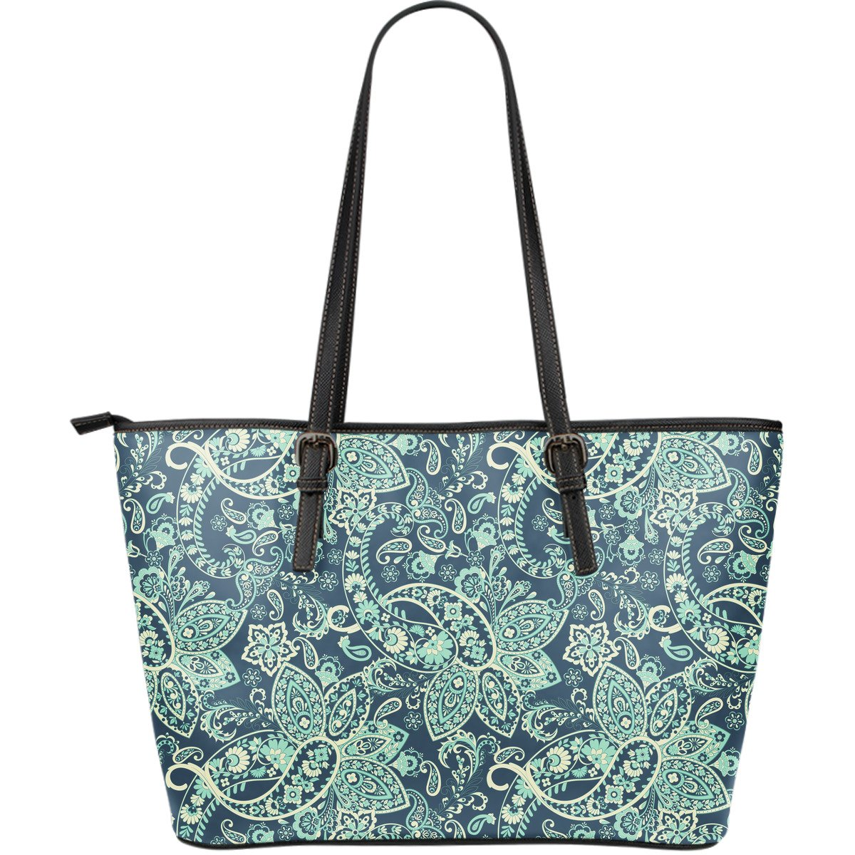 Blue Sky Paisley Bohemian Pattern Print Leather Tote Bag GearFrost