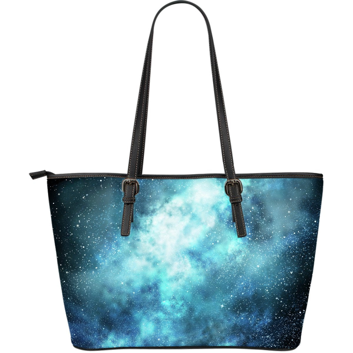 Blue Sky Universe Galaxy Space Print Leather Tote Bag GearFrost