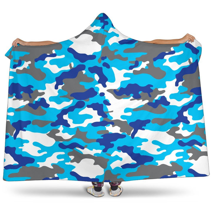 Blue Snow Camouflage Print Hooded Blanket GearFrost