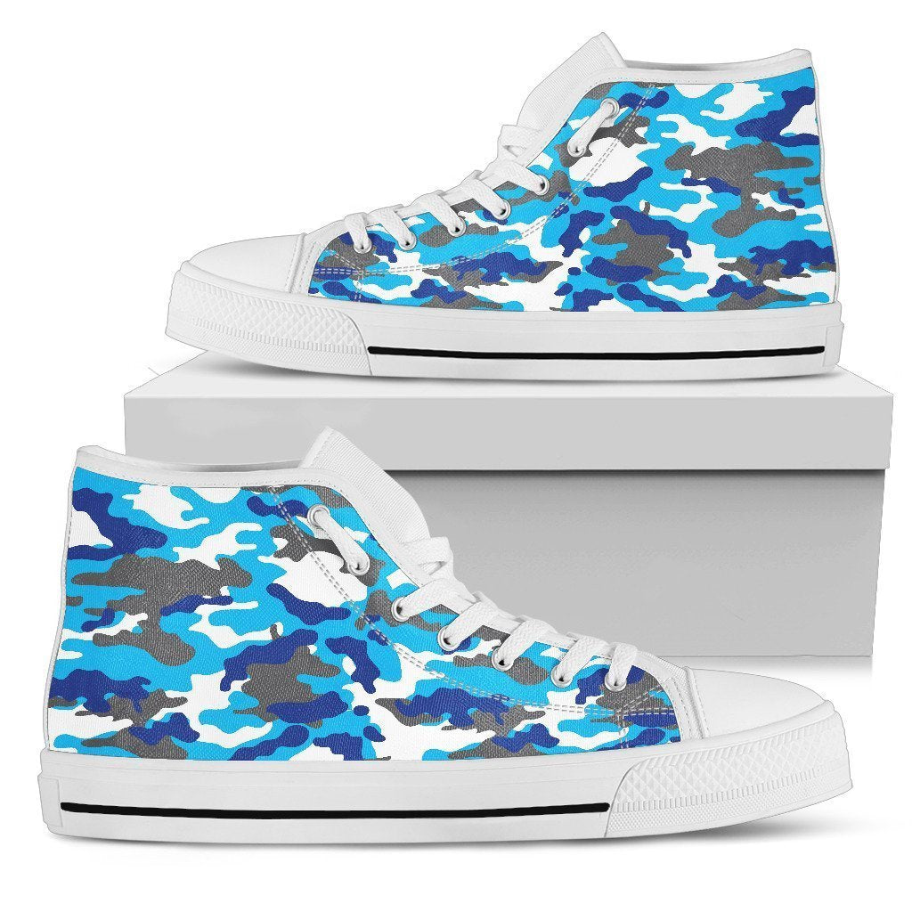 Blue Snow Camouflage Print Men's High Top Shoes GearFrost