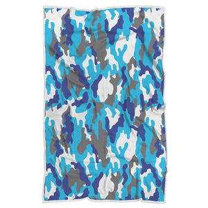 Blue Snow Camouflage Print Sherpa Blanket GearFrost