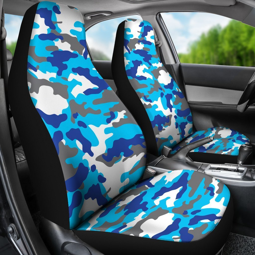 Blue Snow Camouflage Print Universal Fit Car Seat Covers GearFrost