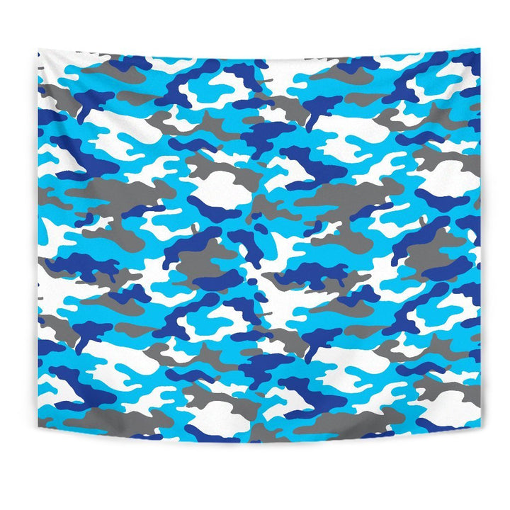 Blue Snow Camouflage Print Wall Tapestry GearFrost
