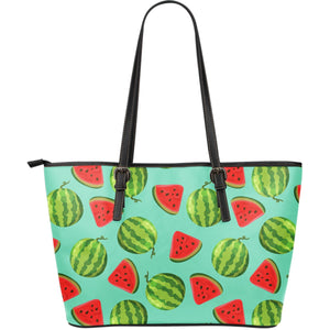 Blue Summer Watermelon Pattern Print Leather Tote Bag GearFrost