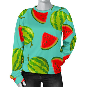 Blue Summer Watermelon Pattern Print Women's Crewneck Sweatshirt GearFrost