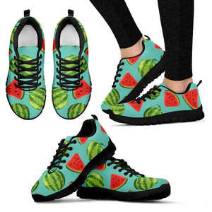 Blue Summer Watermelon Pattern Print Women's Sneakers GearFrost