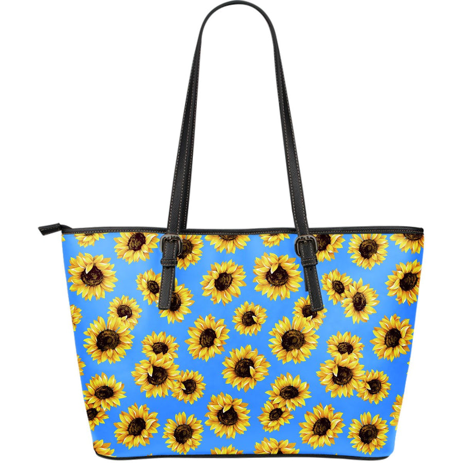 Blue Sunflower Pattern Print Leather Tote Bag GearFrost
