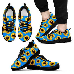 Blue Sunflower Pattern Print Men's Sneakers GearFrost