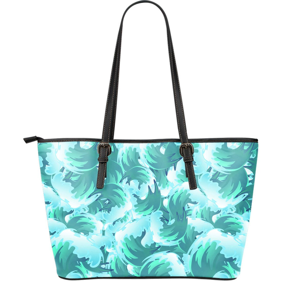 Blue Surfing Wave Pattern Print Leather Tote Bag GearFrost