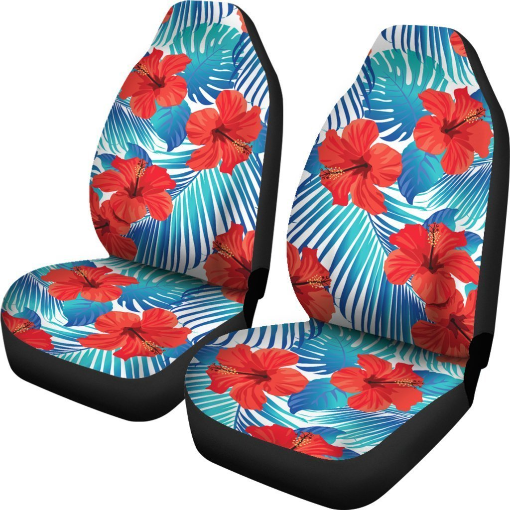Blue Tropical Hibiscus Pattern Print Universal Fit Car Seat Covers