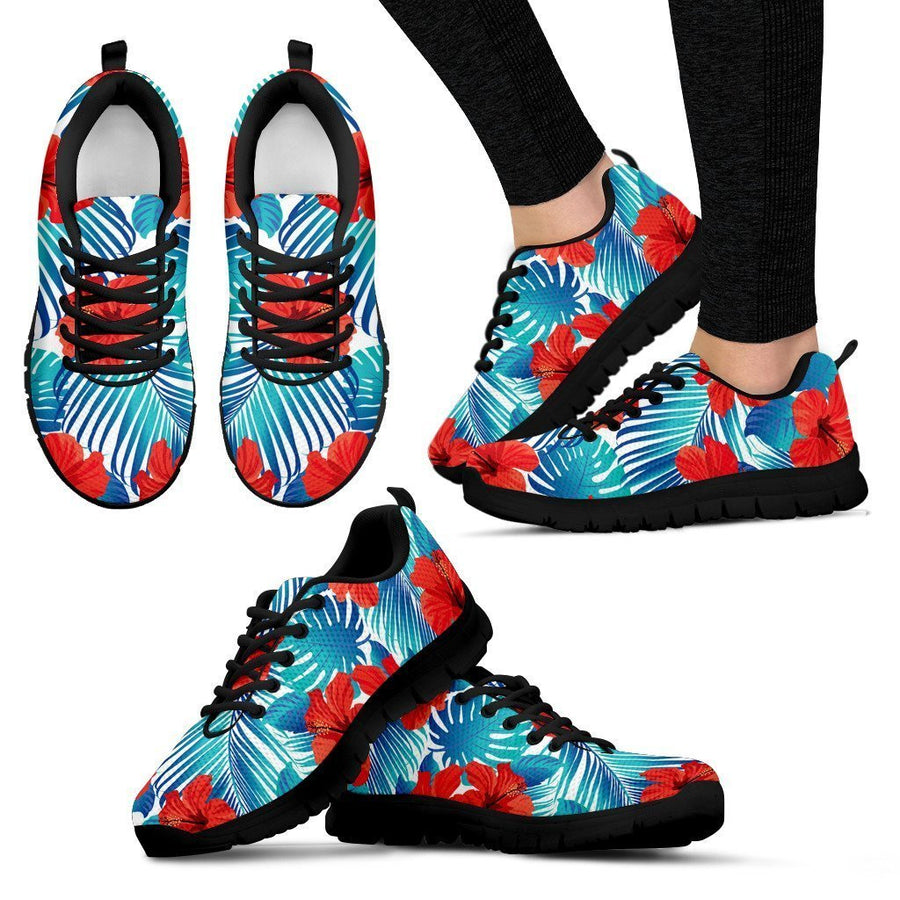 Blue Tropical Hibiscus Pattern Print Women's Sneakers GearFrost
