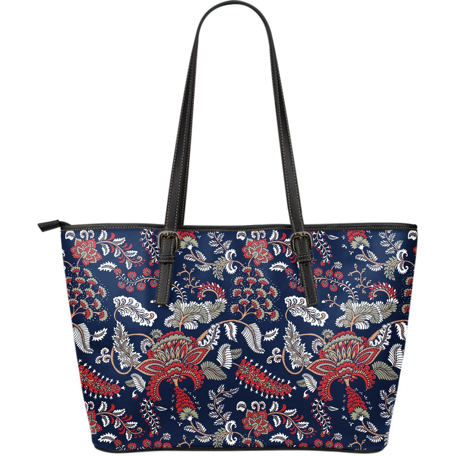 Blue Vintage Bohemian Floral Print Leather Tote Bag GearFrost