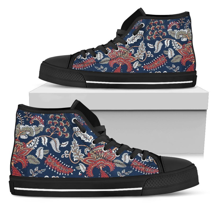 Blue Vintage Bohemian Floral Print Men's High Top Shoes GearFrost