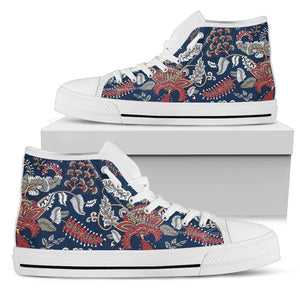 Blue Vintage Bohemian Floral Print Women's High Top Shoes GearFrost