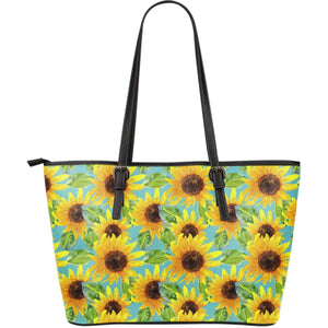 Blue Watercolor Sunflower Pattern Print Leather Tote Bag GearFrost