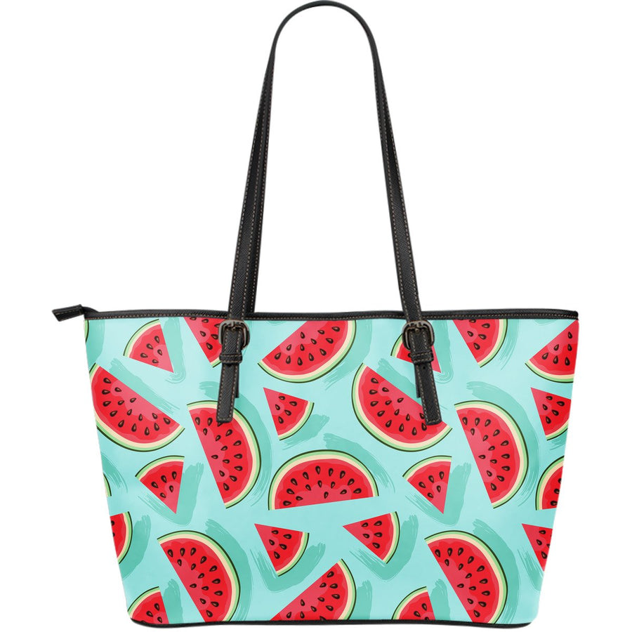 Blue Watermelon Pieces Pattern Print Leather Tote Bag GearFrost