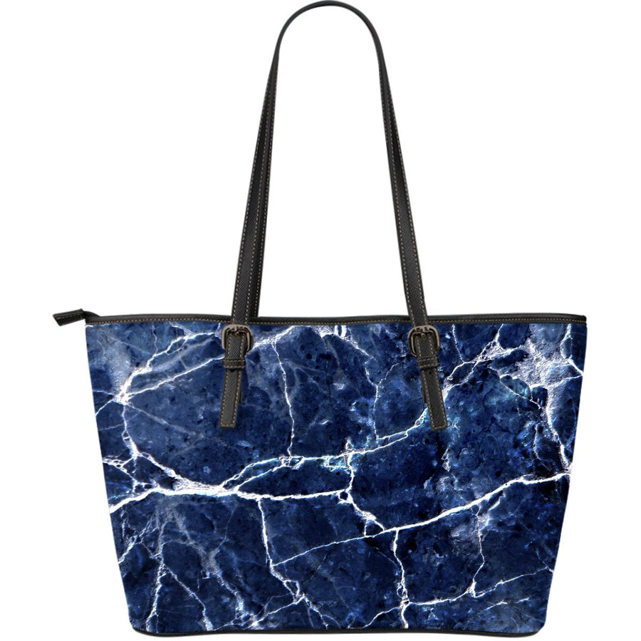 Blue White Marble Print Leather Tote Bag