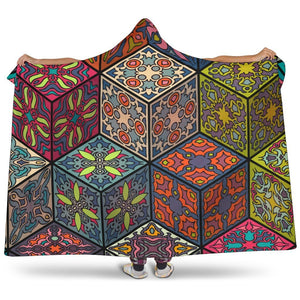 Bohemian Indian Box Pattern Print Hooded Blanket GearFrost