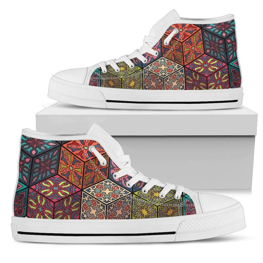 Bohemian Indian Box Pattern Print Men's High Top Shoes GearFrost