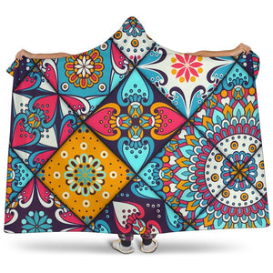 Bohemian Indian Mandala Patchwork Print Hooded Blanket GearFrost