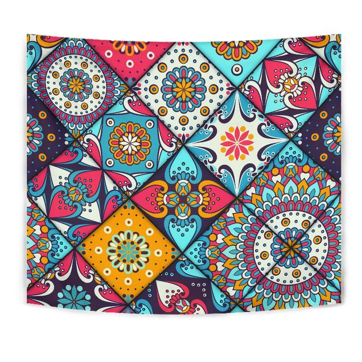 Bohemian Indian Mandala Patchwork Print Wall Tapestry GearFrost