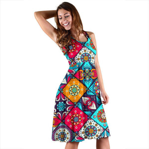 Bohemian Indian Mandala Patchwork Print Women's Dress GearFrost
